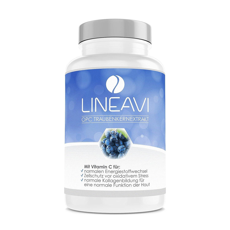 LINEAVI extracto de Semillas de UVA con proantocianidina | con una Alta concentración de Vitamina C Natural | Fabricado en Alemania | 90 cápsulas Veganas ...