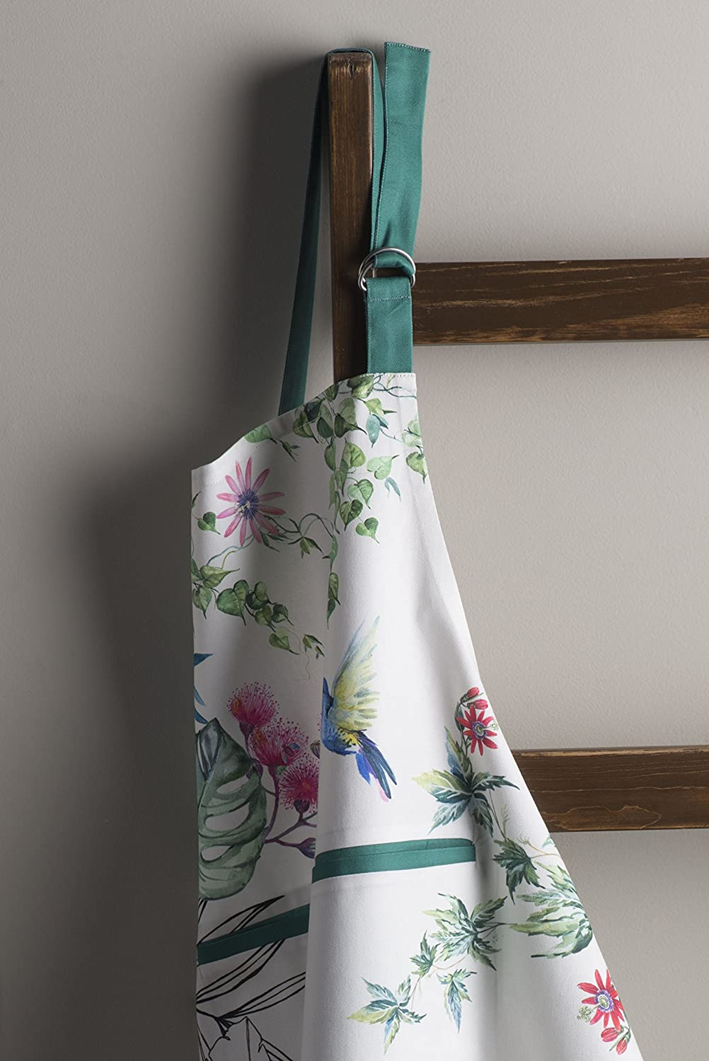 Maison d Hermine Tropiques 100/% Cotton Apron with an Adjustable Neck and Hidden Center Pocket 27.5 Inch by 31.5 Inch Aspero