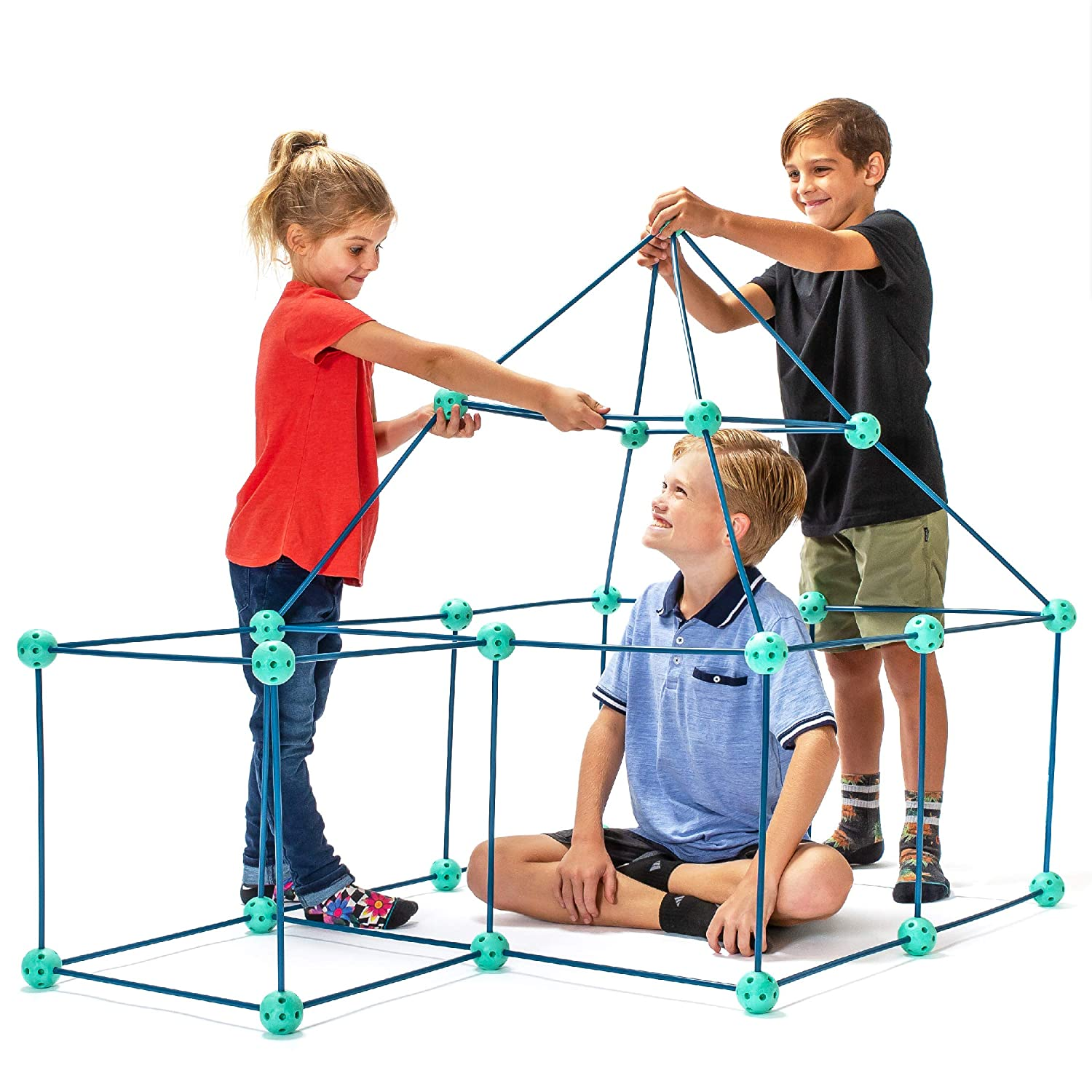 Fort Building Kits for Kids - Fun Forts STEM Building Toys, Play Tent Fort Kit with 81 Pcs