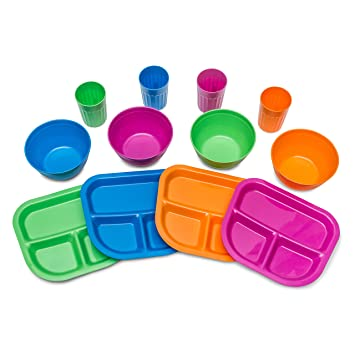 Kids Plates Bowls Cups Dinnerware Set 12 pieces Assorted Colors \u2026  sc 1 st  Amazon.com & Amazon.com : Kids Plates Bowls Cups Dinnerware Set 12 pieces ...