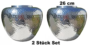 Große Blumenvase cleanprince 2 stück set vasen hammerschlag silber rund bauchig vase