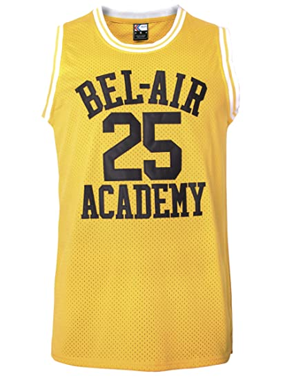 MOLPE Carlton Banks  25 Bel Air Academy Basketball Jersey S-XXXL Yellow (S 33cc932b4