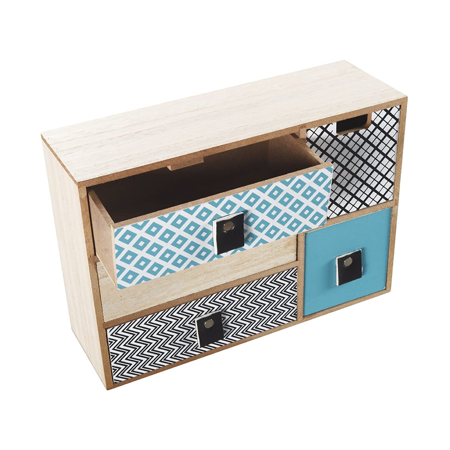 Coloured Mini Drawer Cabinet Drawers Shabby Chic Wood 5Drawers Cabinet Modell 1 DRULINE