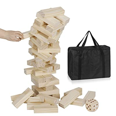 Nova Microdermabrasion Giant Toppling Tumble Tower Blocks Game Wood Stacking Game Tumbling Timbers Outdoor Yard Game - 54 Pieces, 1 Dice and Carry Bag: Toys & Games