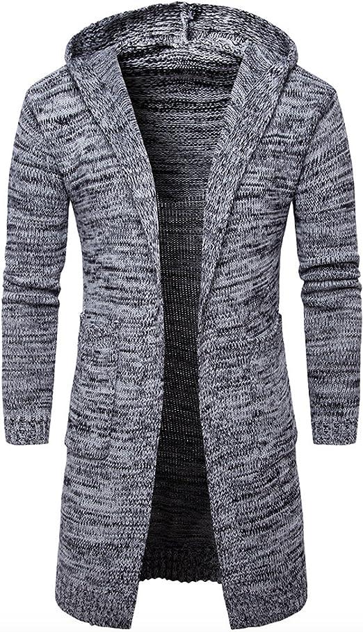Elonglin Homme Cardigan Outerwear Longue à Capuche Cardigan Tricoté à Manches Longue Manteau Long Slim Fit