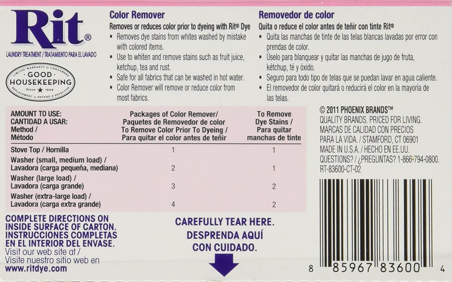 Amazon.com: Rit Dye Laundry Treatment Color Remover Powder, 2 oz, 10-Pack