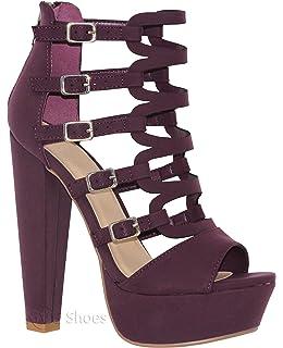 1c8a82e1a02 MVE Shoes Women s Block Heel Platform Cut Out Slip On Sexy Heeled Sandal