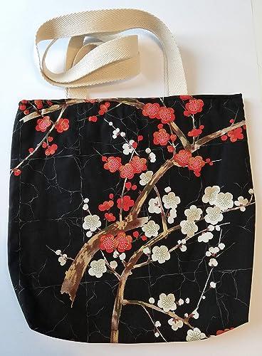 Bolso tote bag japonés negro con flores de cerezo: Amazon.es: Handmade