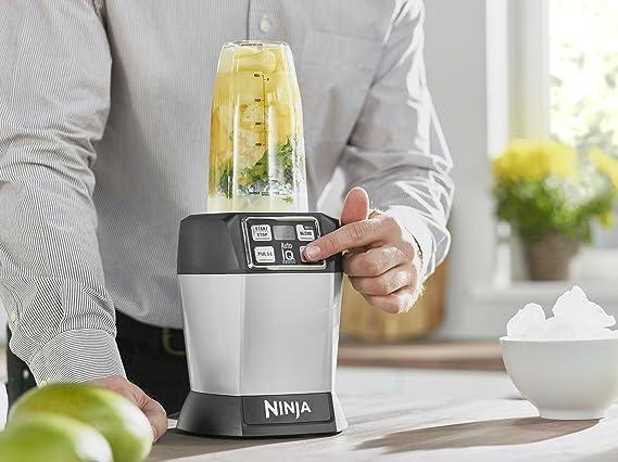 Ninja BL480 Batidora de vaso 1000W Negro, Plata - Licuadora (Batidora de vaso, Negro, Plata, 2 pieza(s), 1000 W, 394 mm): Amazon.es: Hogar