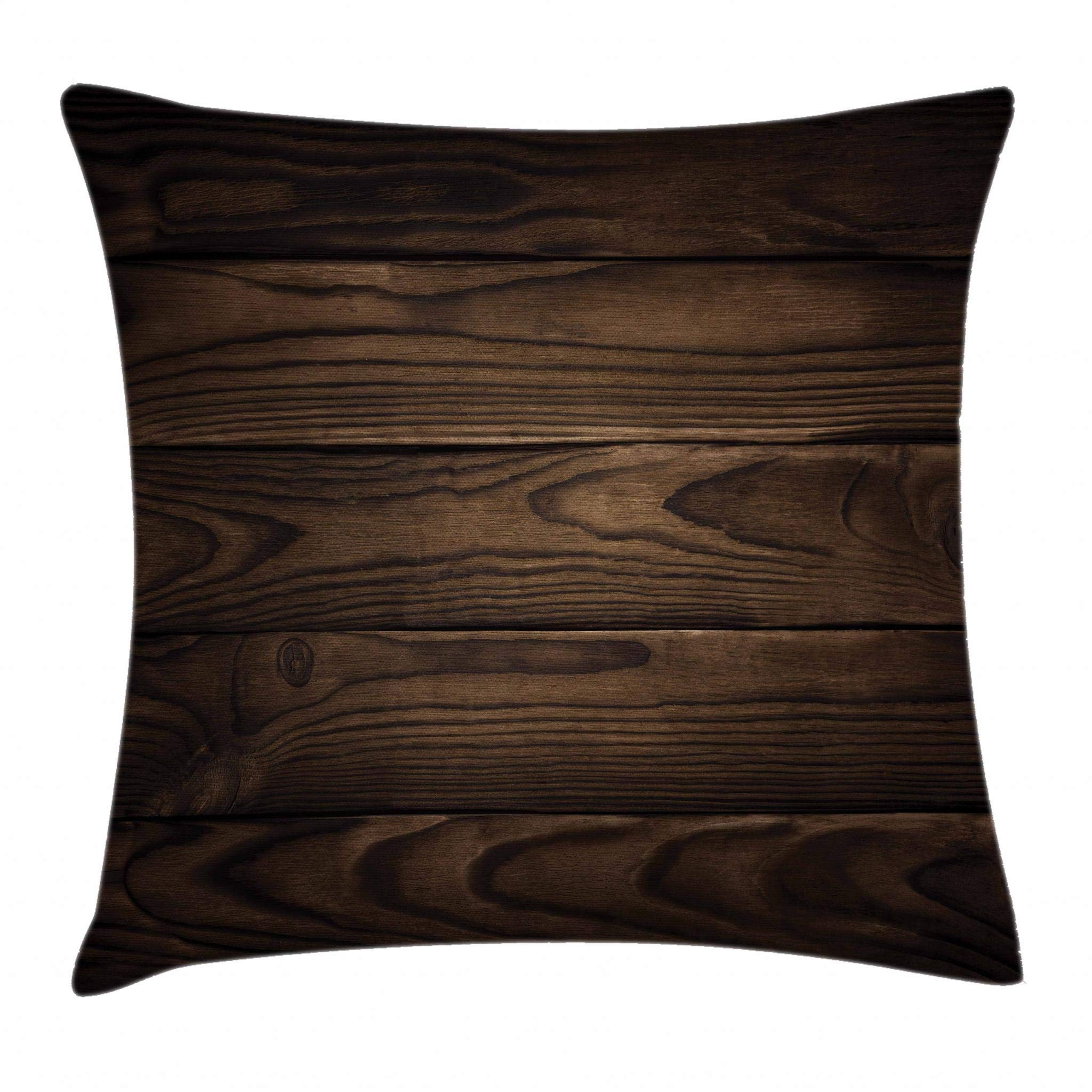 Ambesonne Chocolate Throw Pillow Cushion Cover, Vintage Rustic Illustration of Detailed Hardwood Floor Design Carpentry Themed Pattern, Decorative Square Accent Pillow Case, 26 X 16 Inches, Brown