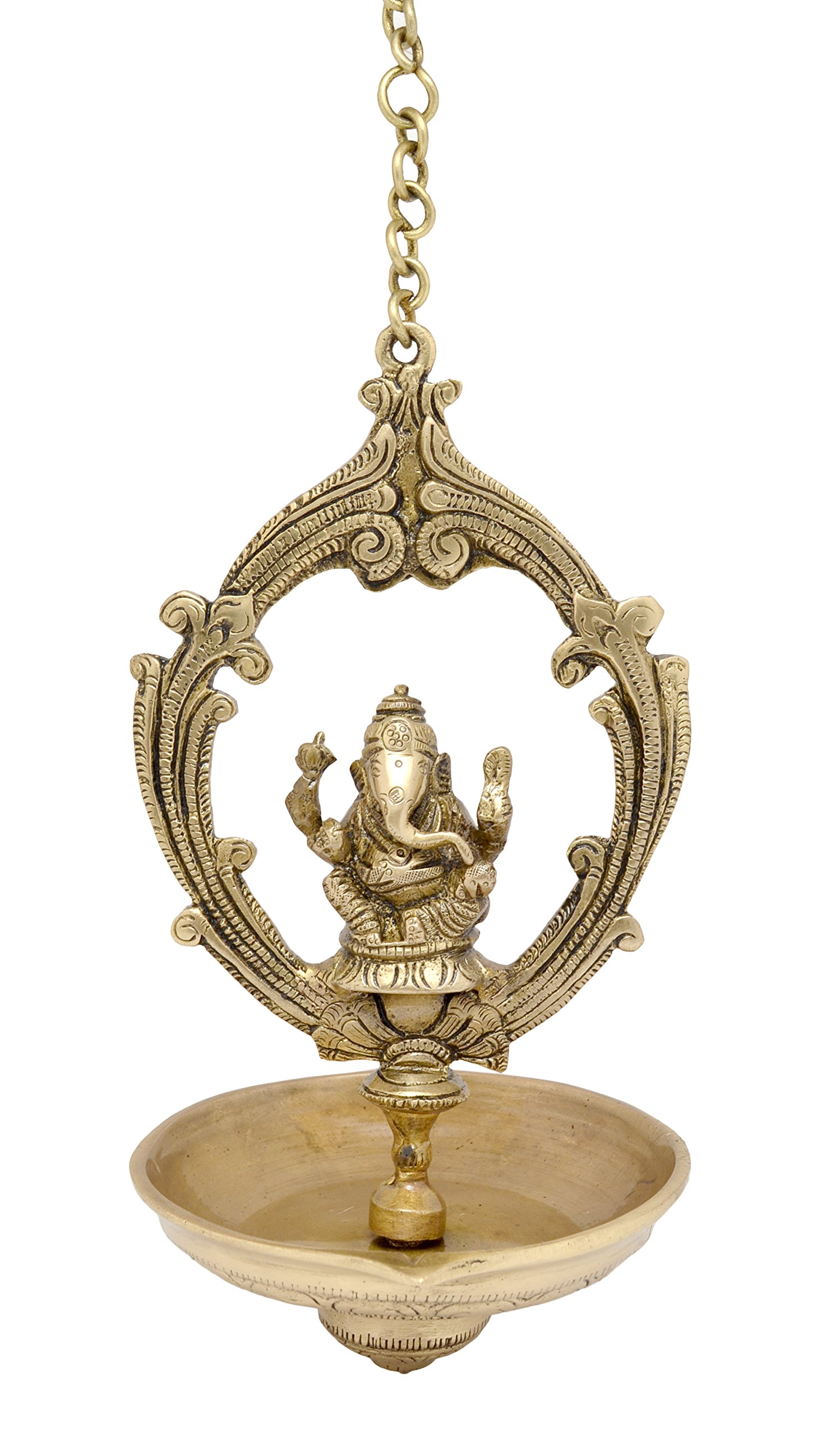 Two Moustaches Brass Ganesha Hanging Oil Wick Diya, Yellow by Two Moustaches