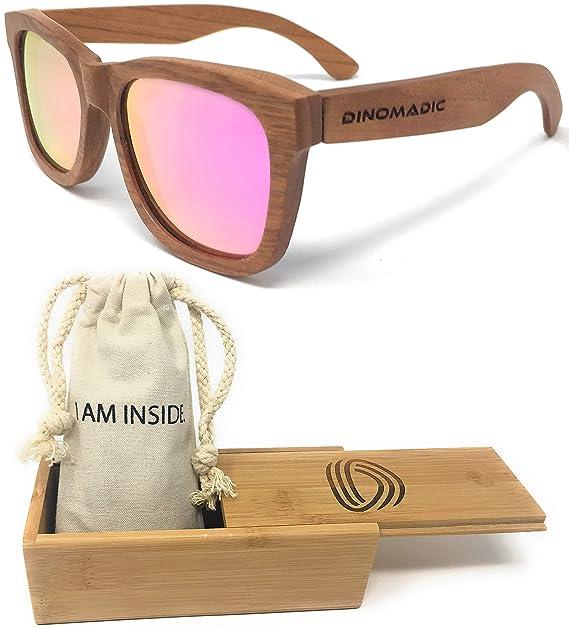 a51f2f2c42 DINOMADic | Madera de Cereza Gafas de Sol Polarizadas Unisexo con Estuche  de Bambú (Cladel