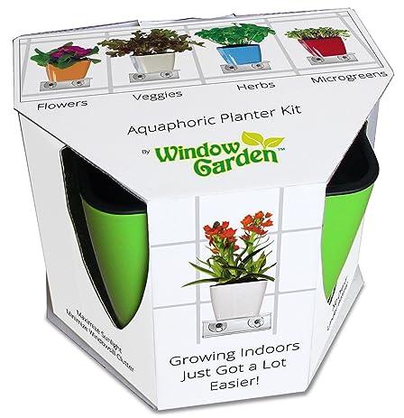 Aquaphoric Indoor Garden Kit U2013 Self Watering Planter + Window Shelf + Fiber  Soil U003d Thriving