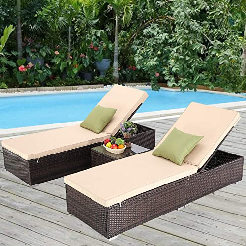 Furnimy 3 PCS Outdoor Patio Chaise Lounge Chair Set PE Rattan Wicker for Poolside Porch Backyard, 2 Lounge Chairs with Chaise Lounge Cushion and 1 Coffee Table with Tempered Glass Top