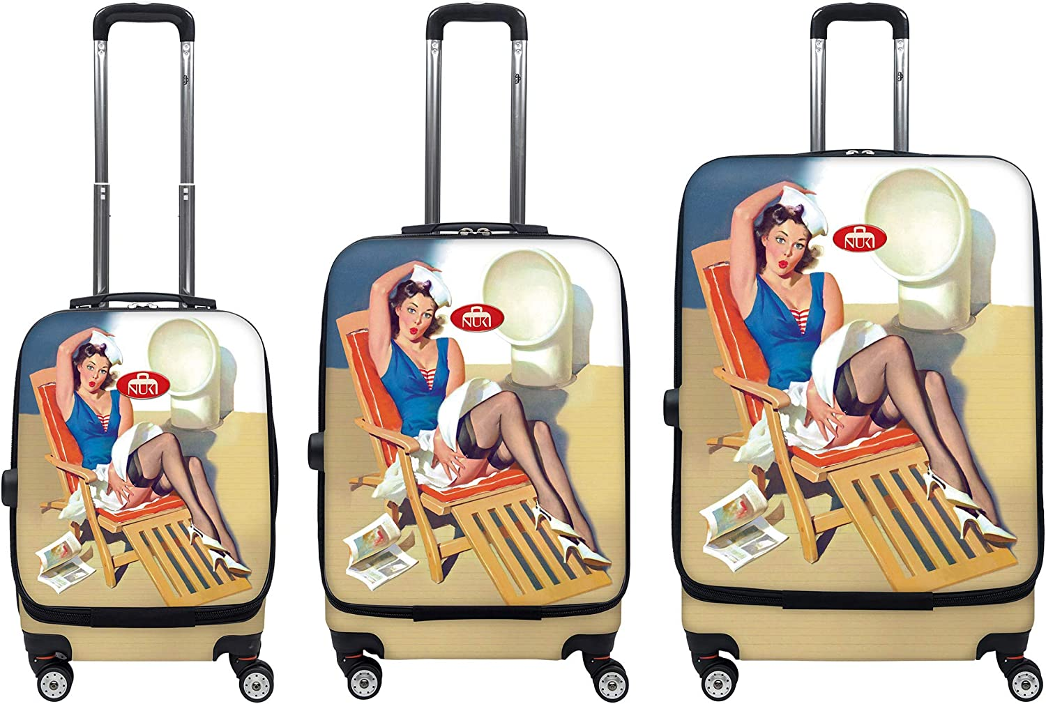 Pink NUKI Front Accessible Luggage Lightweight Spinner 20