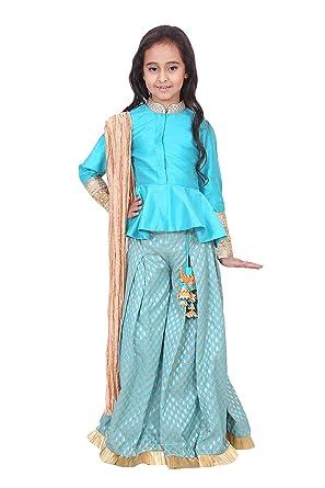 8f80540418 Chiquitita By Payal Bahl Girl's Raw Silk Turquoise Indo Western Peplum  Sharara Set (Chq-