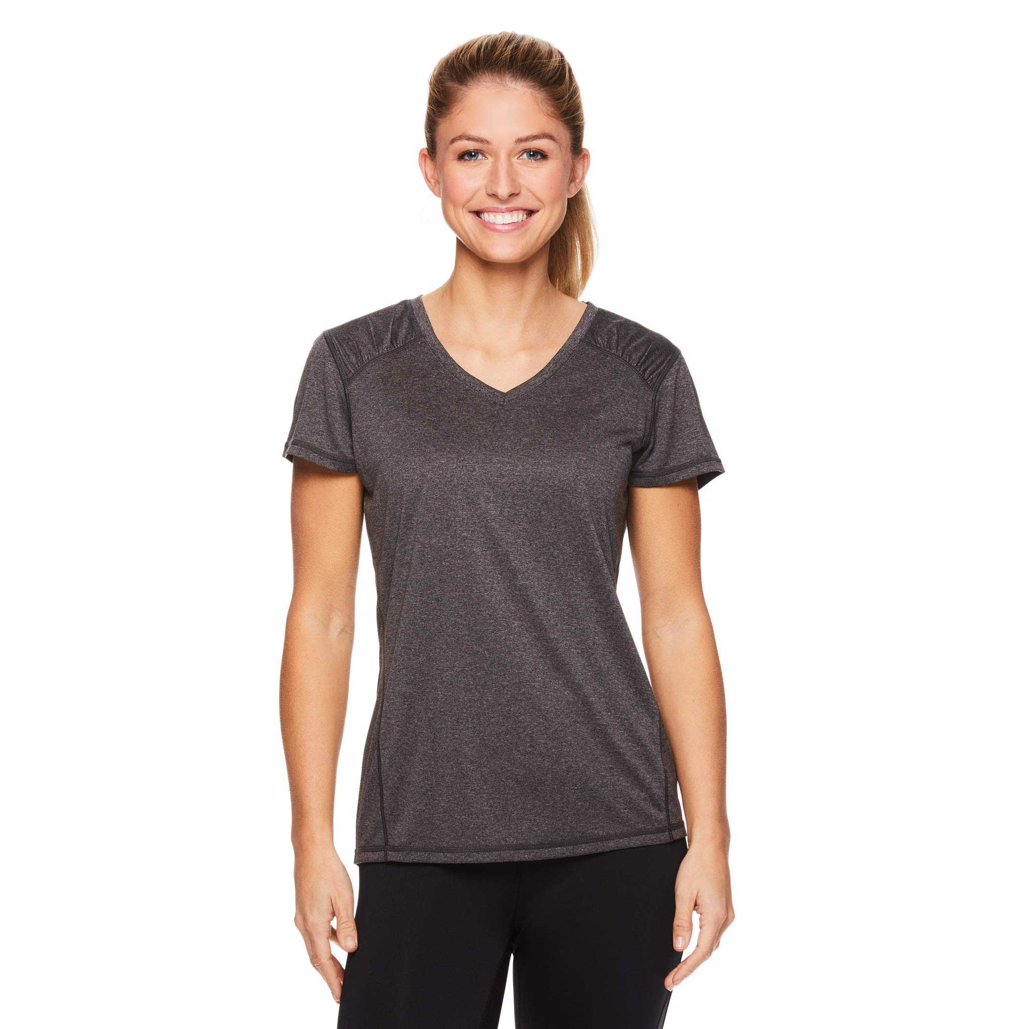 HEAD Women's Perfect Match Short Sleeve Workout T-Shirt - Performance V-Neck Activewear Top - Charcoal Heather, Small