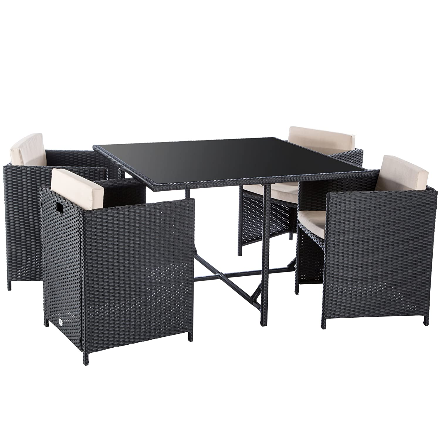 ultranatura poly rattan lounge set palma serie 5 teilig tisch 4 sessel inklusiv auflagen. Black Bedroom Furniture Sets. Home Design Ideas