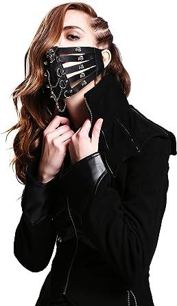 Steam Punk Black/&White Mask Masquerade Costume Halloween Biker Rock Goth