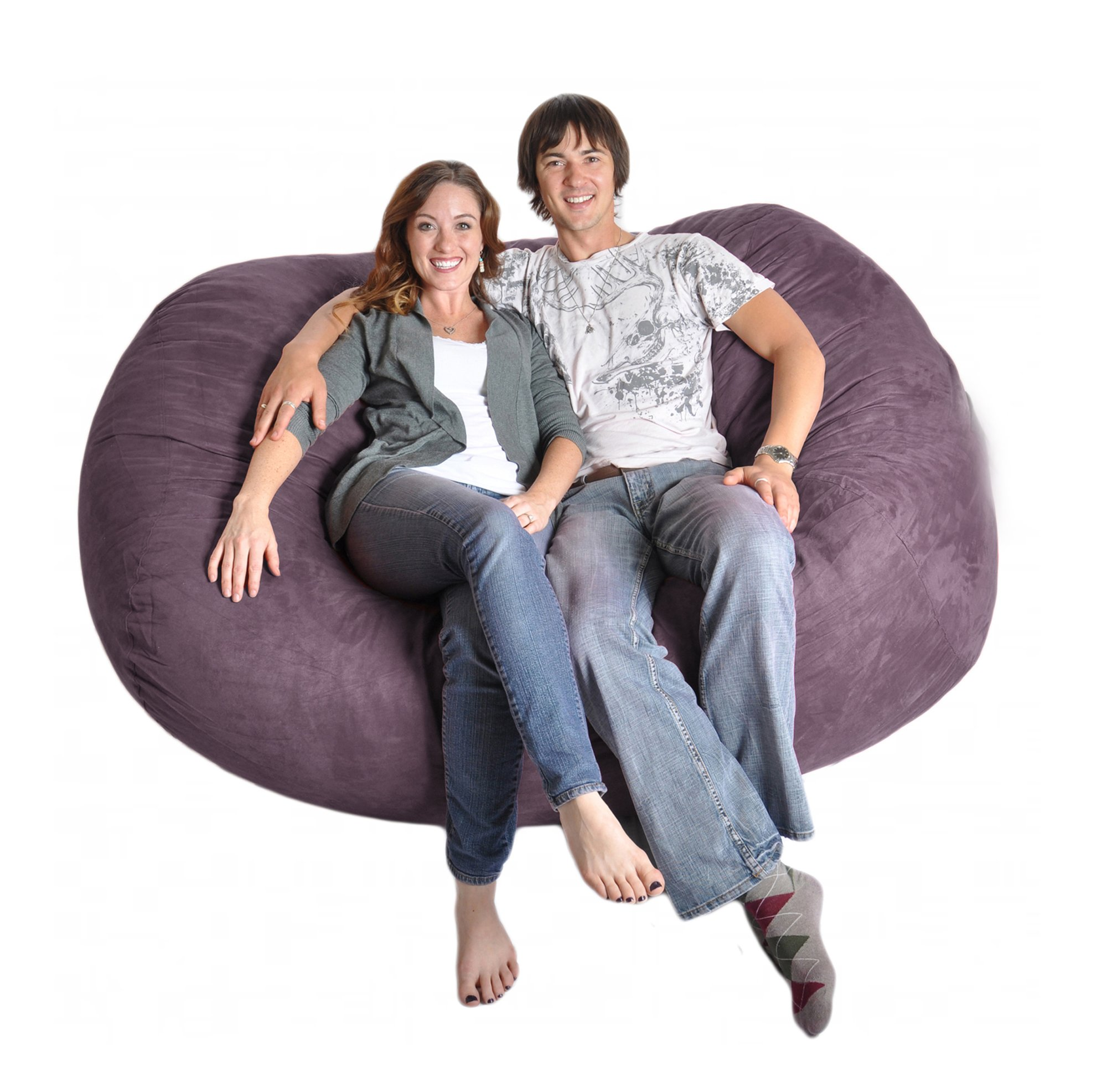 SLACKER sack 6 Foot Extra Large Foam Microsuede Beanbag for Girls, Purple