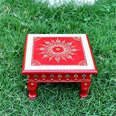 Lalhaveli Ethnic Decorative Hand Painted Wooden Bajot Puja Chowki Footstool Table 11 X 11 X 5.5 Inch