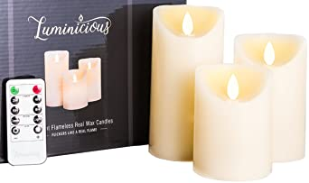 "Flameless Candles Battery Operated Led Flickering Flame With Remote & Timer | Amazing Realistic Dancing Flame | Real Wax Ivory | Set Of 3 (Size 4""5""6"") 