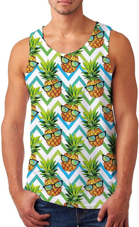 uideazone Hawaiian Aloha Tank Tops for Men Funny Pineapple with Sunglasses Beach Sport Shirt Summer Sleeveless Graphic Tees XX-Large