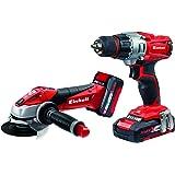 Einhell Machines/Set d'outils TE TK 18LI sans fil sur batterie POWER X-Change (Meuleuse d'angle, 18V, Perceuse-visseuse sans fil, batterie Li-ion 1,5Ah, 3,0Ah batterie et chargeur inclus)