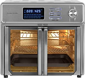 Kalorik 26 QT Digital Maxx Air Fryer Oven with 7 Accessories, Roaster, Broiler, Rotisserie, Dehydrator, Oven, Toaster, Pizza Oven and Slow Cooker. Includes Cookbook. Sears up to 500⁰F. Extra Large Capacity, All in One Appliance. Stainless Steel. AFO 47269 SS