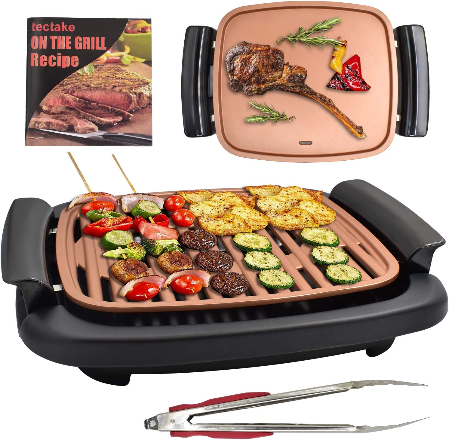 Electric Griddle Grill Combo - Smokeless Nonstick Square Griddle Pan with Recipe and Clip,Oil Leak Hole Design, 16
