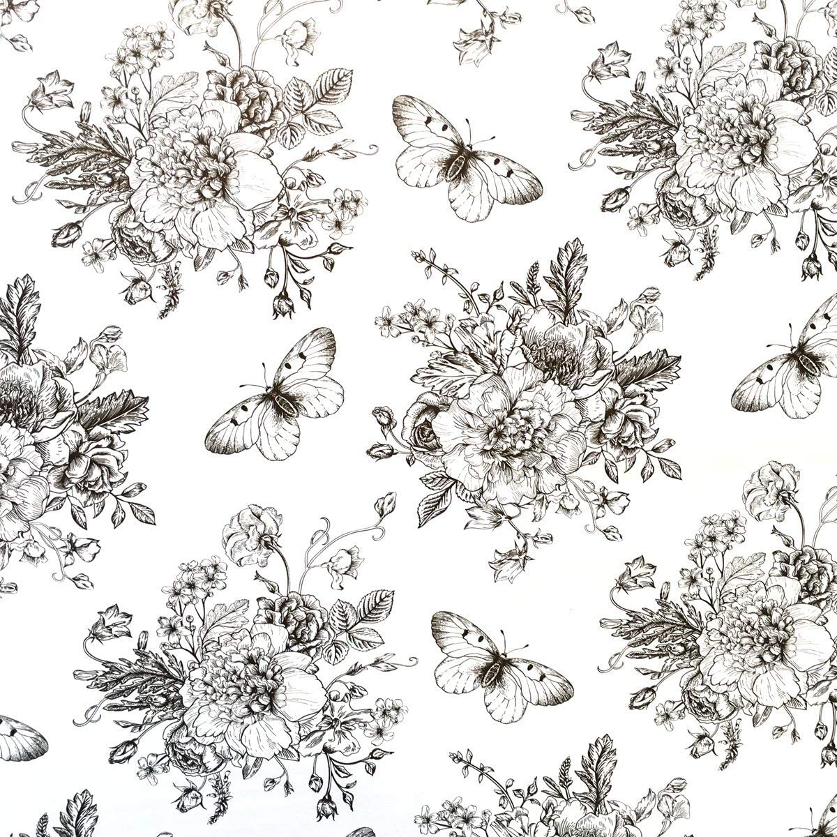TaoGift Self Adhesive Peony Floral Butterfly Shelf Liner Contact Paper for Dresser Cabinets Walls Backsplash Furniture Decal 17.7x117 Inches
