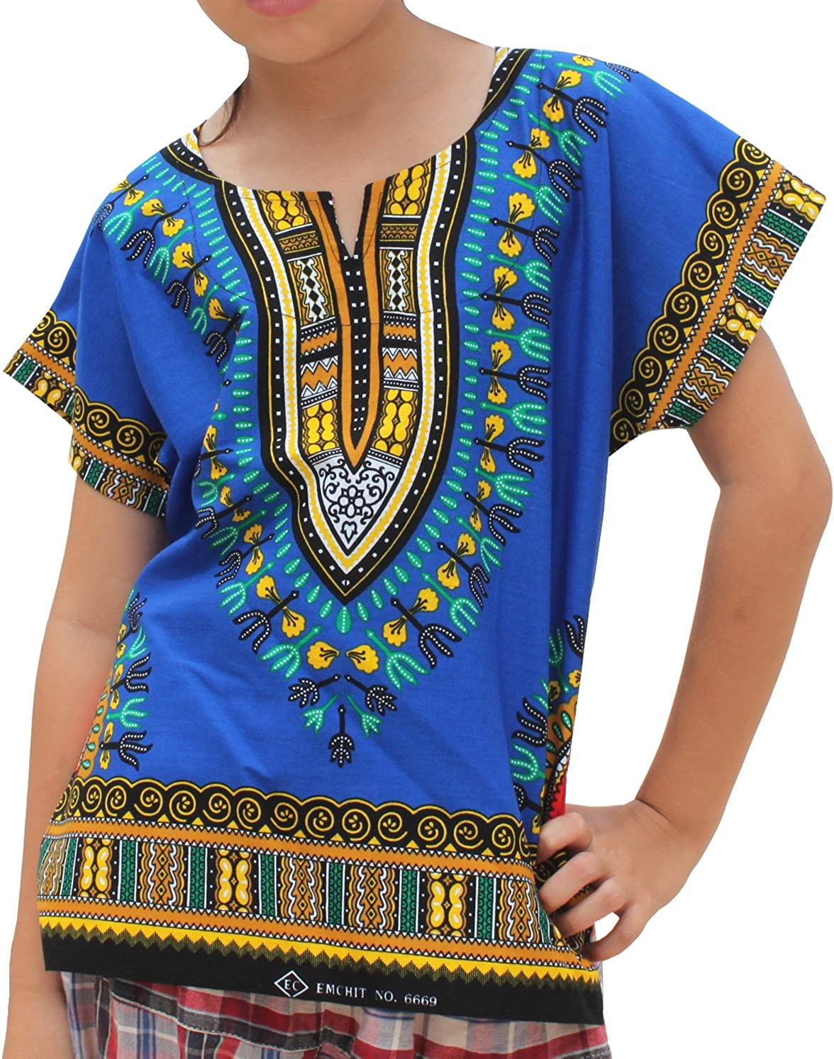 RaanPahMuang Kids Unisex African Dashiki Shirt, 100% Soft Cotton, Short Sleeve