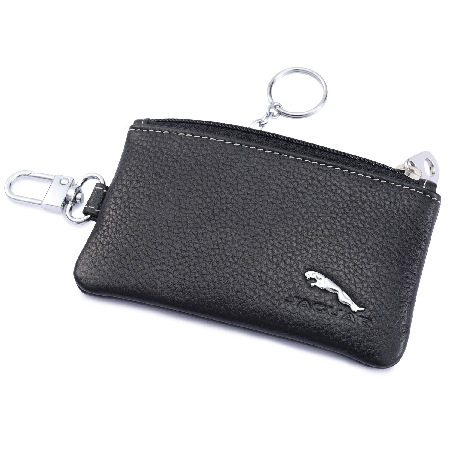 Jaguar Car Key Holder Remote Cover Fob with 1 Metal Keychain - Genuine Leather