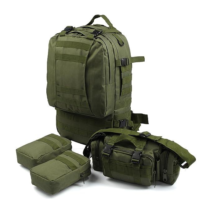 MultiWare Arm/ée Sac /à Dos Tactique Militaire 50L Sac Randonn/ée Camping Voyage Sac de Sport Etanche Rucksacks militaires Bois Camouflague