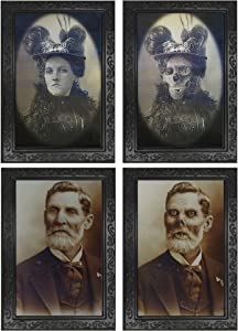2 Pack Halloween Scary Decorations Haunted House Props 3D Face Changing Picture Frame Portrait Monster Haunted Spooky Decorations for Horror Theme Party Halloween Home Wall Decor