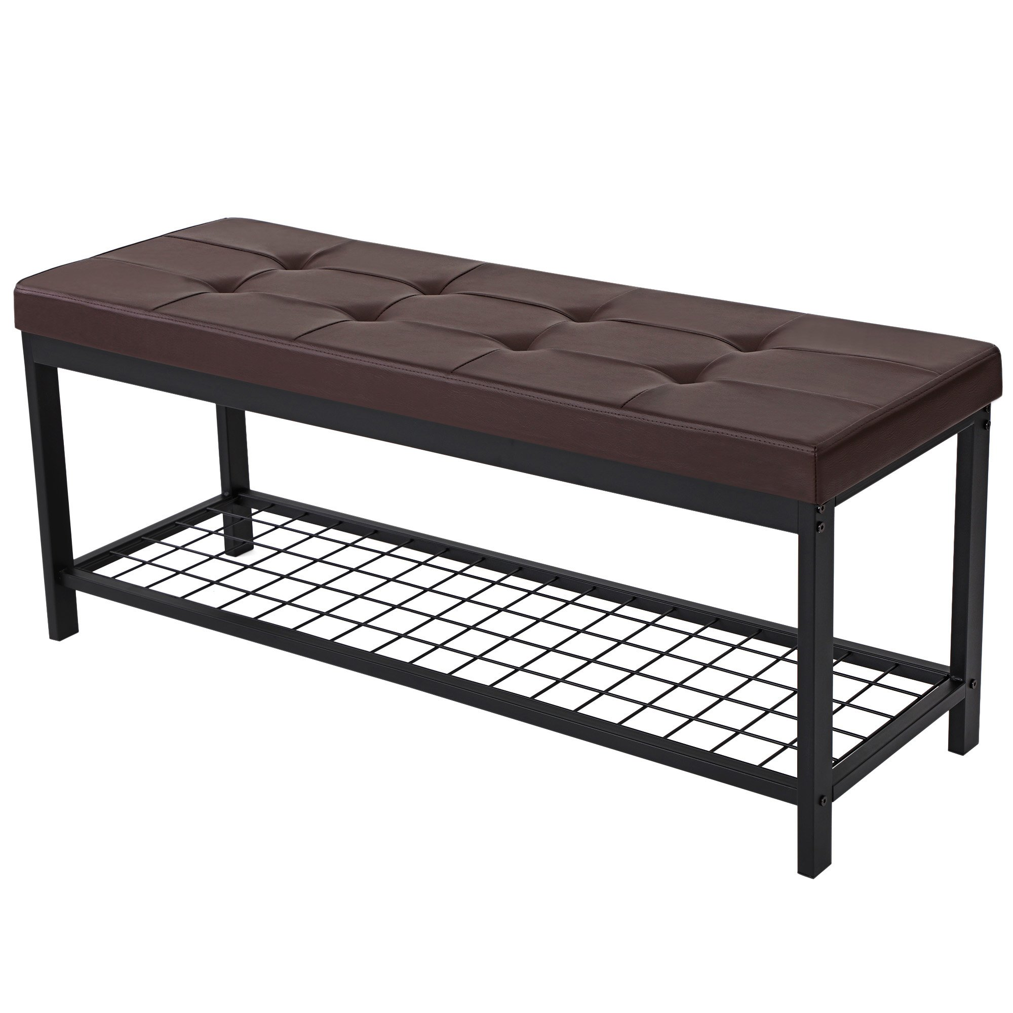 SONGMICS 45'' L Metal Entryway Hallway Upholstered Bench with Storage Shelf Brown ULBS40Z