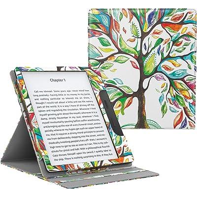 MoKo Funda Compatible con All-New Kindle Oasis (9th and 10th Generación Solo, 2017 and 2019 Release) - Superior Voltear Vertical Funda con Auto Sueño/Estela - Árbol de Suerte