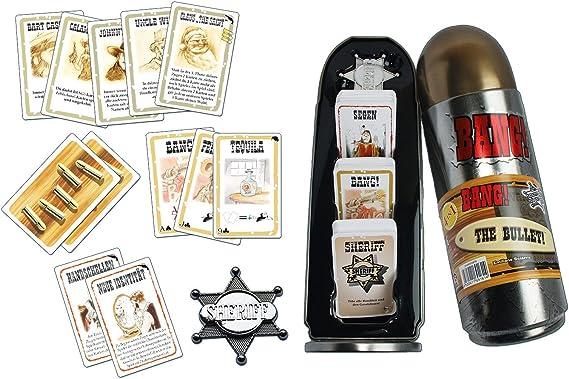 ABACUSSPIELE 69161 Bang! - Juego de Cartas en Caja de Metal con Forma de Balas (Contenido en alemán): Amazon.es: Juguetes y juegos