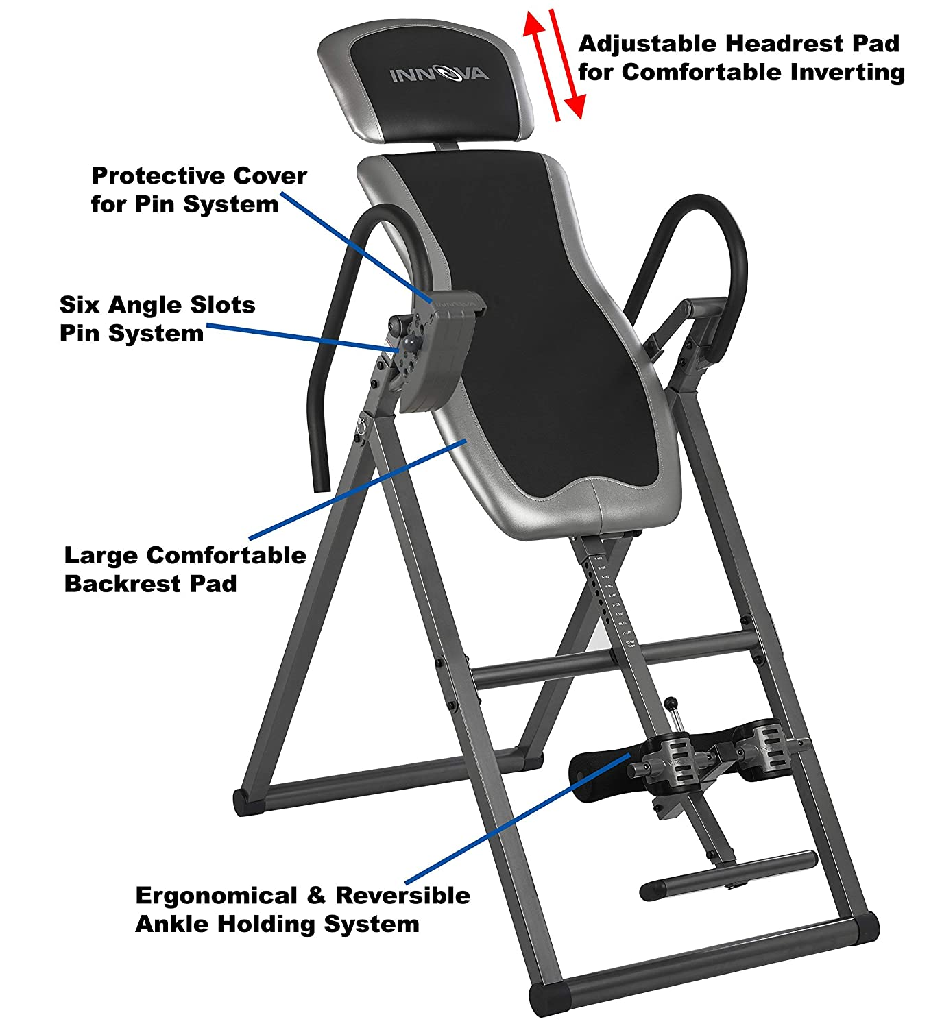 Innova ITX9600 Heavy Duty Inversion Table with Adjustable Headrest Protective Cover Renewed