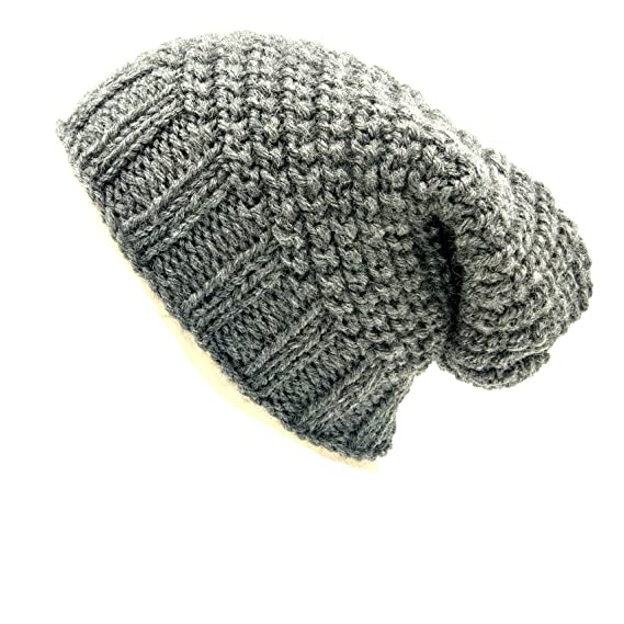 7c09a7255d8 Magic Needles Winter Woolen Slouch Cap (Handmade Mens Diagonal Slouch Beanie)  (Dark Grey