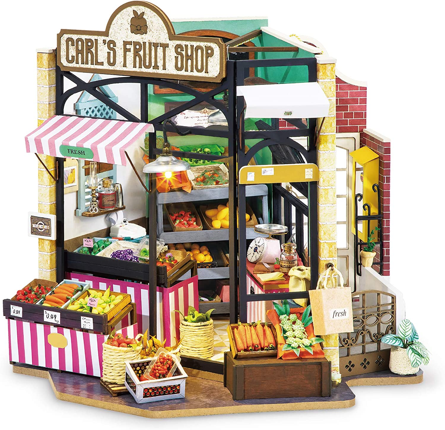 Hands Craft DG142, DIY 3D Wooden Miniature Dollhouse Build Your own Crafting Kit with Real LED Lights, Fun Educational STEM Hobby Project for Kids (14+) and Adults. (Carl's Fruit Shop)