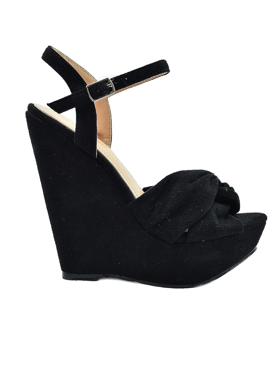 Chase & Chloe Gita-1 Detail Sling Back Criss-Cross Bow Detail Gita-1 Women's Wedge Sandal B07D989ZMJ 9 M US|Black 138618
