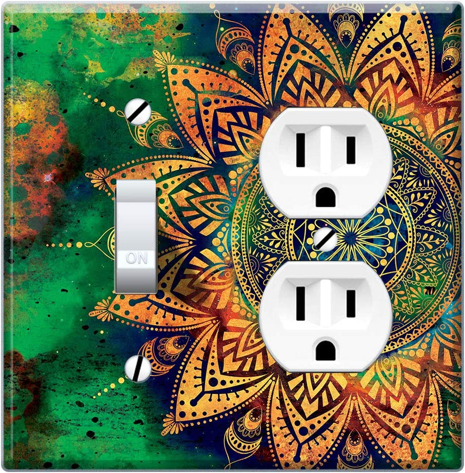 Wirester Double Gang 1 Duplex Outlet Cover And 1 Toggle Light Switch Plate Wall Plate Cover Ancient Mandala Amazon Com