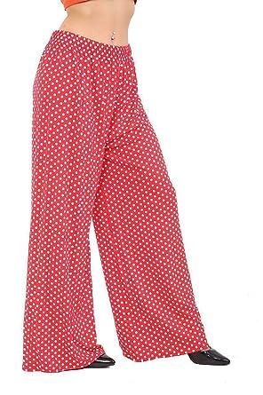 GirlzWalk Damen Weite Bein Polka Dot Palazzo Hosen Damen-Partei-Tragen  Baggy Pants  Amazon.de  Bekleidung cf600cc7e1