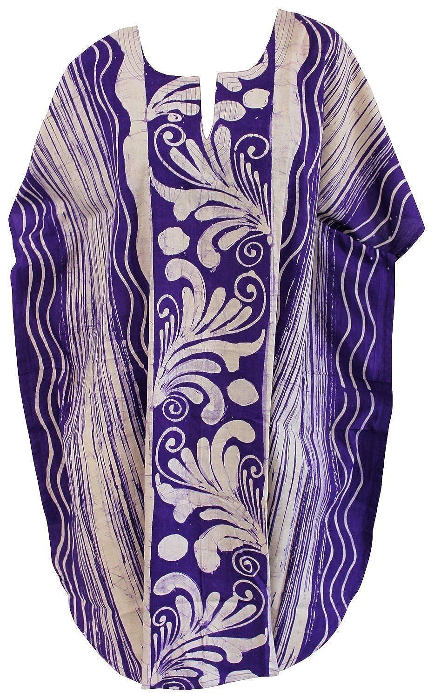 La Leela Baumwollhandgemachter Batik Kimono Frauen Strand Vertuschung Sommerkleid lila
