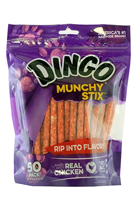 d1248b079fef9 Dingo Munchy Stix Rawhide and Chicken Treat for Dogs