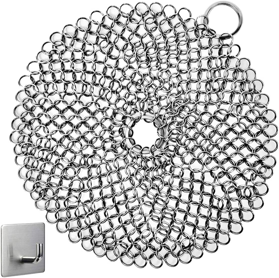 """Cast Iron Cleaner, Chainmail Scrubber, Meirenda 316L Chainmail Scrubber 8"""" x 8"""" Stainless Steel Chain Skillet Cleaner for Cast Iron Pre-Seasoned Dutch Ovens Waffle Iron Pans (8""""x8"""" Round)"""
