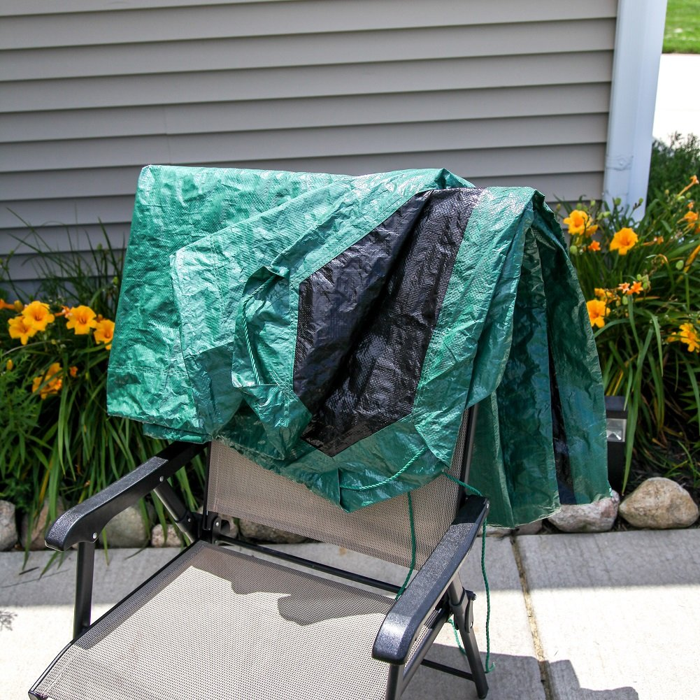 Shefko 0-99393-10909-4 Yard Tarp 8.2 X 8.2 - Versatile Drawstring Tarp for Yard Clean Ups - Convenient and Handy - Formed Into an Instant Dragging Bag - Ideal as BBQ Grill and Outdoors Furniture Cover by Shefko (Image #9)