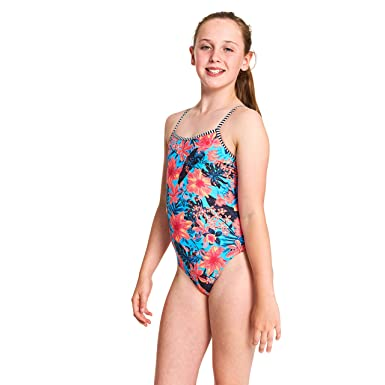 84e882f1bc3 Zoggs Girls' Wunderlust Yaroomba Floral One Piece Swimsuit, Multi, Size 26  UK/