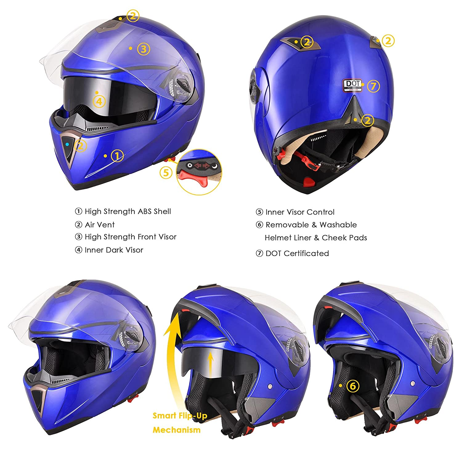 Amazon.com: Yescom Full Face Flip up Modular Motorcycle Helmet DOT Approved Dual Visor Motocross Blue XL: Automotive